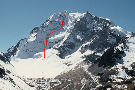 The American Route on Huayna Potosi West Face, 6088m.