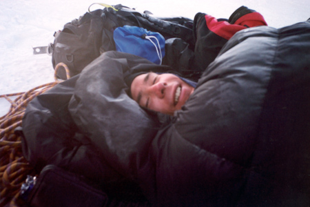 Michael Wåhlin in the bivouac after climbing Huayna Potosi West Face.
