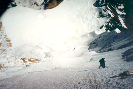 Michael Wåhlin high above the Hanging Glacier, Huayna Potosi West Face.