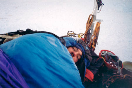 Olof Dallner in the bivouac after climbing Huayna Potosi West Face.